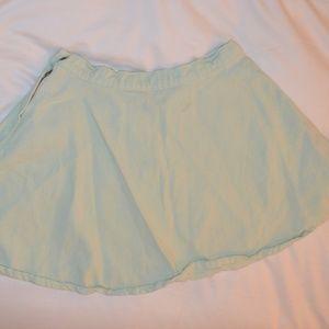 Mint Green Denim Skirt